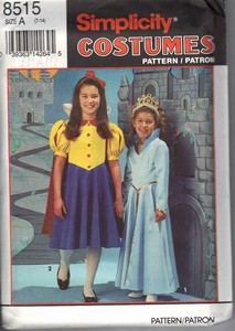 Simplicity 8515 Size A Girl's Princess Costume Pattern UNCUT