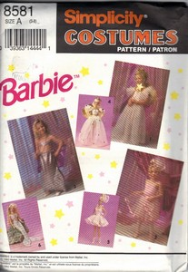 Simplicity 8581 Size A Girl's Barbie Costume Pattern UNCUT