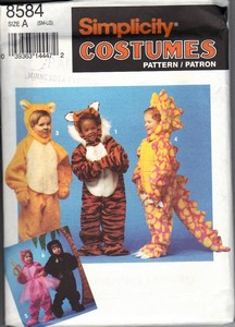 Simplicity 8584 Size A Children's Animal Costume Pattern UNCUT