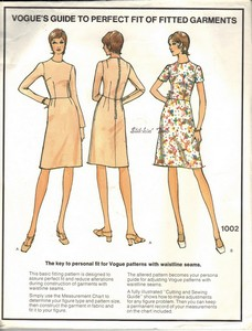 Vogue 1002 Basic Fitting Dress Pattern 10 Petite UNCUT