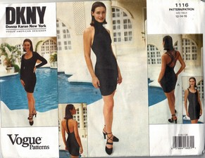 Vogue 1116 DKNY Form Fitting Cocktail Dress Pattern UNCUT