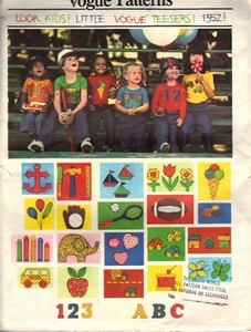 Vogue 1352 Chldren's Tee Shirt Pattern Appliques UNCUT