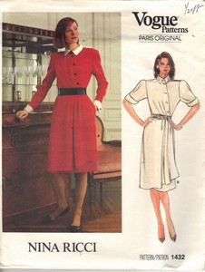 Vogue 1432 Nina Ricci Elegant Career Dress Pattern UNCUT