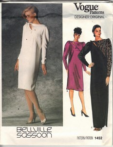 Vogue 1452 Bellville Sassoon Dress Pattern Size 12 Uncut