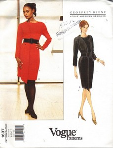 Vogue 1637 Geoffrey Beene Dress Pattern Uncut 8-10-12