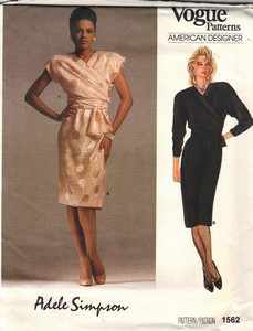 Vogue 1562 Adele Simpson Dress Pattern Uncut Size 12