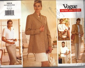 Vogue 1624 Career Wardrobe Pattern 20-22-24 UNCUT