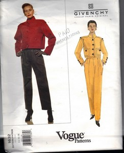 Vogue 1632 Givenchy Jacket Pants Pattern Uncut 14-16-18