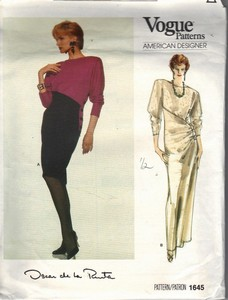 Vogue 1645 Oscar de La Renta Dress Pattern