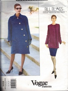 Vogue 1659 Bill Blass Coat Tunic Skirt Pattern UNCUT 14-16-18