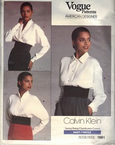 Vogue 1981 Calvin Klein Blouse Pattern UNCUT
