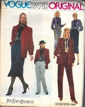 Vogue 1988 Yves Saint Laurent Wardrobe Pattern UNCUT