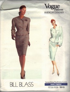 Vogue 2015 Bill Blass Skirt Suit Pattern UNCUT