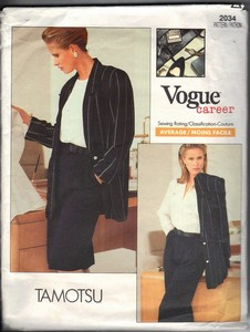 Vogue 2034 Tamotsu Suit Sewing Pattern XL UNCUT