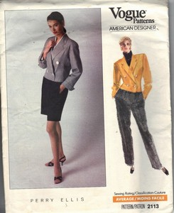 Vogue 2113 Perry Ellis Suit Pattern UNCUT