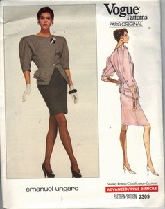 Vogue 2309 Ungaro Suit Pattern Size 14-16 UNCUT