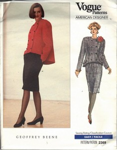 Vogue 2369 Geoffrey Beene Suit Pattern Uncut 8-10-12