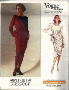 Vogue 2408 Bellville Sassoon Cocktail Dress Pattern UNCUT
