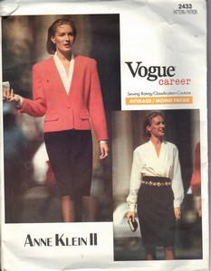 Vogue 2433 Anne Klein Suit Pattern Uncut 18-20-22