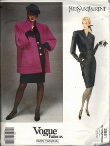 Vogue 2581 Saint Laurent Pattern Jacket Dress UNCUT 14-16-18