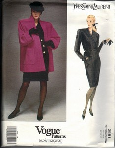 Vogue 2581 Yves Saint Laurent Pattern Jacket Dress UNCUT 8-10-12