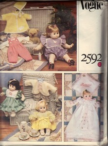 Vogue 2492 Baby Doll Wardrobe Pattern UNCUT