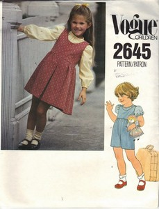 Vogue 2645 Size 4 Girls Jumper Jumpsuit Pattern UNCUT