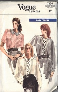 Vogue 7100 Pleated Front Blouse Pattern UNCUT