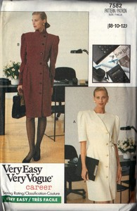 Vogue 7582 Sheath Career Dress Pattern 8-10-12 UNCUT