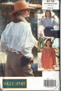 Vogue 8118 Roomy Shirt Pattern 20-22-24 UNCUT