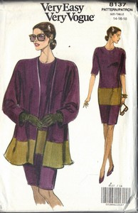 Vouge 8137 Dress Long Jacket Pattern Size 14-16-18