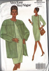 Vogue 8422 Dress Long Jacket Pattern 14-16-18 UNCUT
