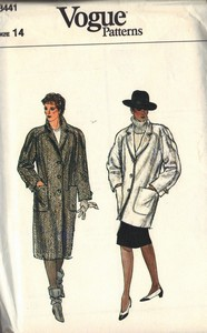 Vogue 8441 Raglan Style Coat Pattern UNCUT