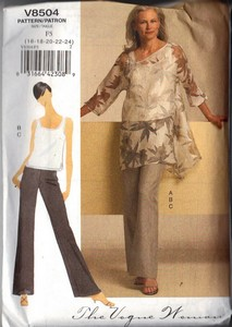 Vogue 8504 Tunic Top Pants Pattern XL UNCUT