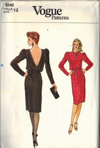 Vogue 8540 Back Wrap Sewing Pattern Size 12