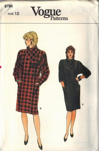 Vogue 8766 Cowl Neck Dress Pattern Size 12 UNCUT