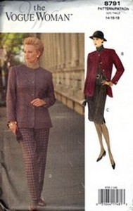 Vogue 8791 Woman 8791 Suit Pattern 14-16-18 UNCUT