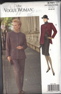 Vogue 8791 Woman 8791 Suit Pattern20-22-240 UNCUT