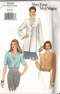 Vogue 9129 Blouse Tunic Sewing Pattern XL UNCUT