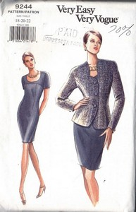 Vogue 9244 Dress Jacket Pattern 18-20-22 UNCUT