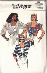 Vogue 9261 Cover-up, Top Pattern UNCUT Large