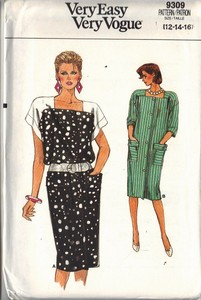 Vogue 9309 Shift Dress Pattern Medium UNCUT