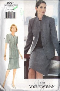 Vogue 9934 Career Suit Pattern 14-16-18 UNCUT