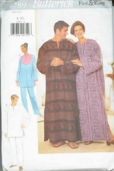 Butterick 4789 Unisex Pajama and Caftan Pattern UNCUT