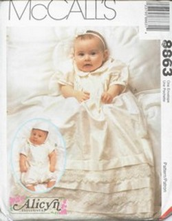 McCalls 8863 Christening Gown Rompers Hat Pattern