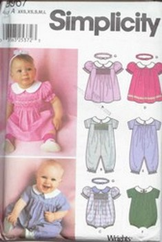 Simplicity Pattern 9967 Baby Romper, Dress & Headband