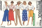 Butterick 4137 Miss Skirt Shorts Culottes Pants Pattern