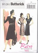 Butterick E5 B5281 Retro '46 Sophisticated Dress Pattern UNCUT