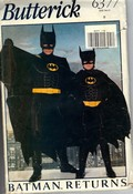 Butterick 6377 B Adult Batman Costume Pattern UNCUT
