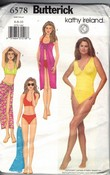 Butterick 6578 Swimsuit Pattern Small Kathy Ireland